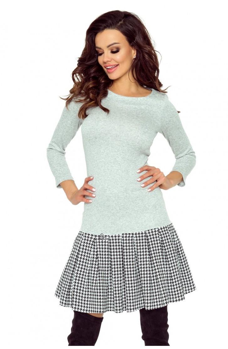 Sukienka z plisowaną spódniczką (pepitka)