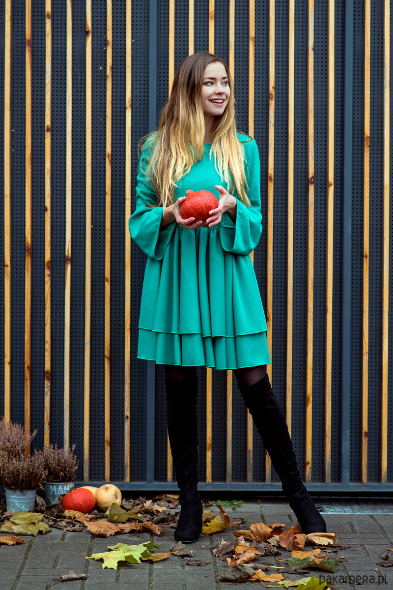 Sukienka z bufkami Zielona