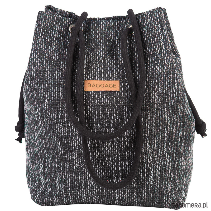 7a01a22ee5233 torby na ramię - damskie-Torebka worek BAGGAGE szara plecionka shopper