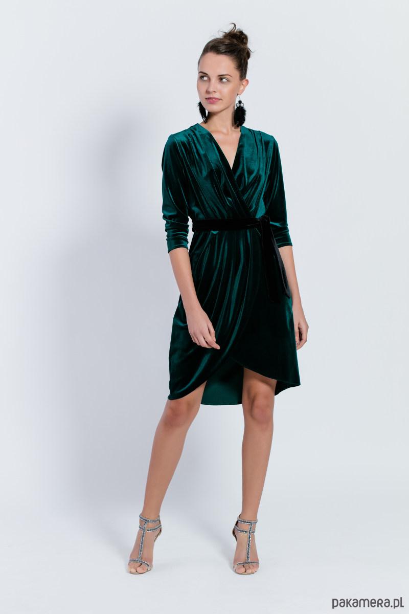 D108 aksamitna sukienka kopertowa. Zielona