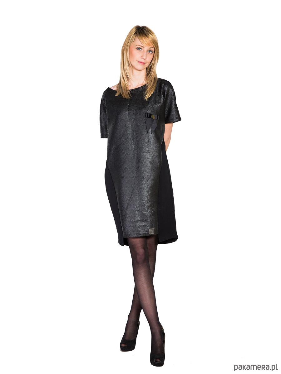 Sukienka MILITARY LOOK czarna