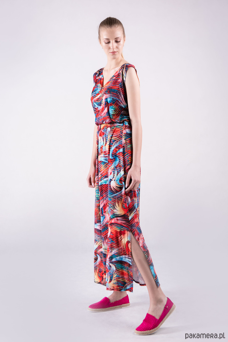 Sukienka kopertowa długa wzór