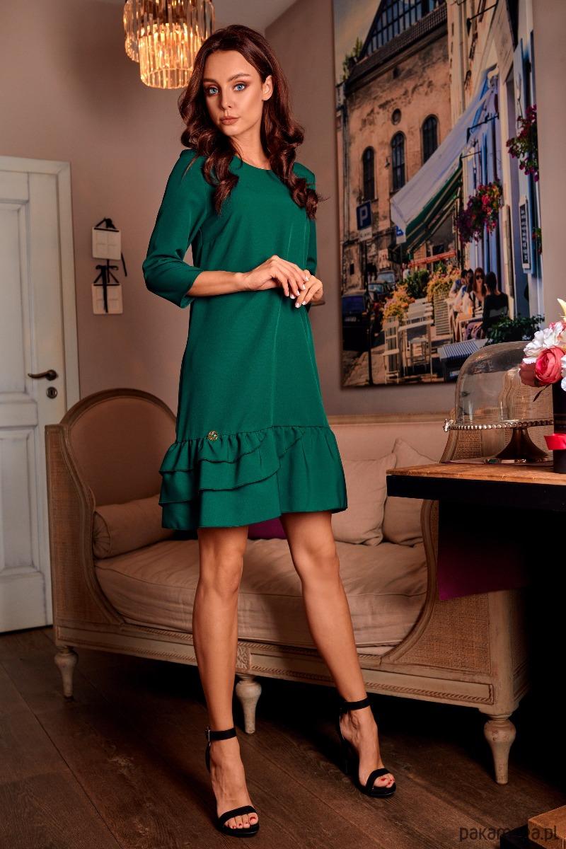 129f7f1058 Klasyczna sukienka z falbanką L272 - zielony - sukienki - różne ...