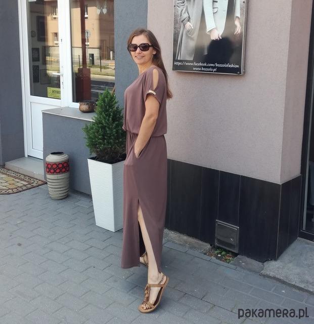 Długa sukienka z wiskozy - Czekolada