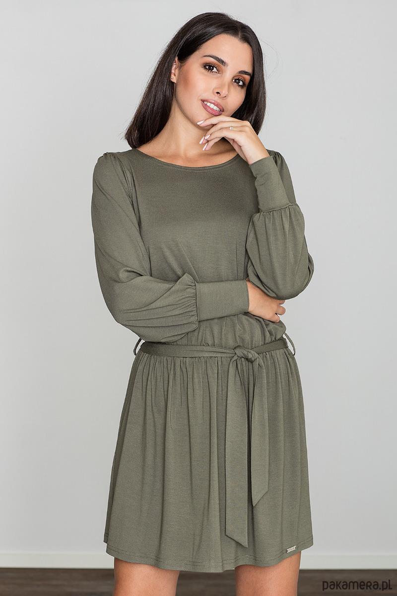 Sukienka z długim rękawem m576 oliwka