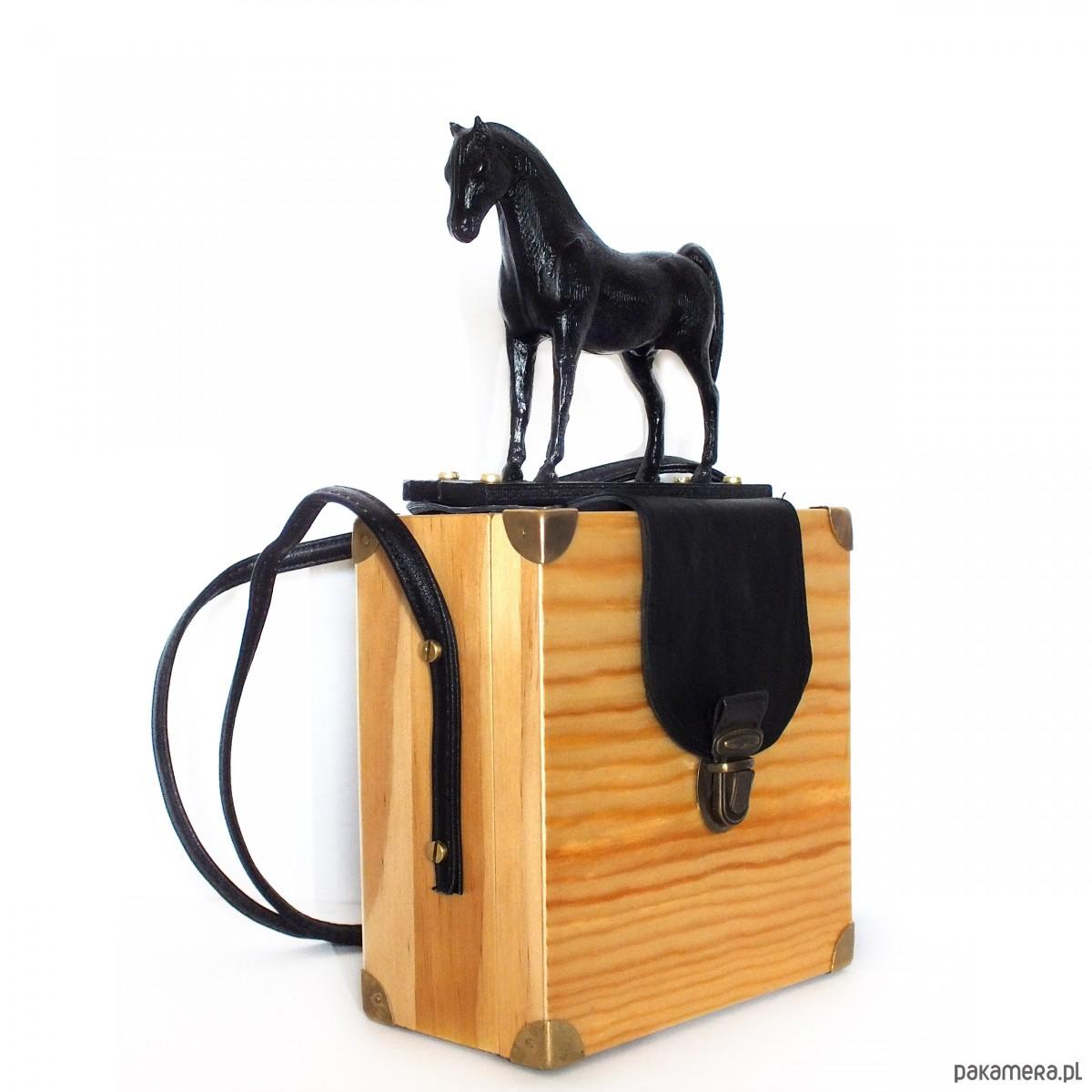 Koń czarny druk 3d + drewno torebka Kolokaina