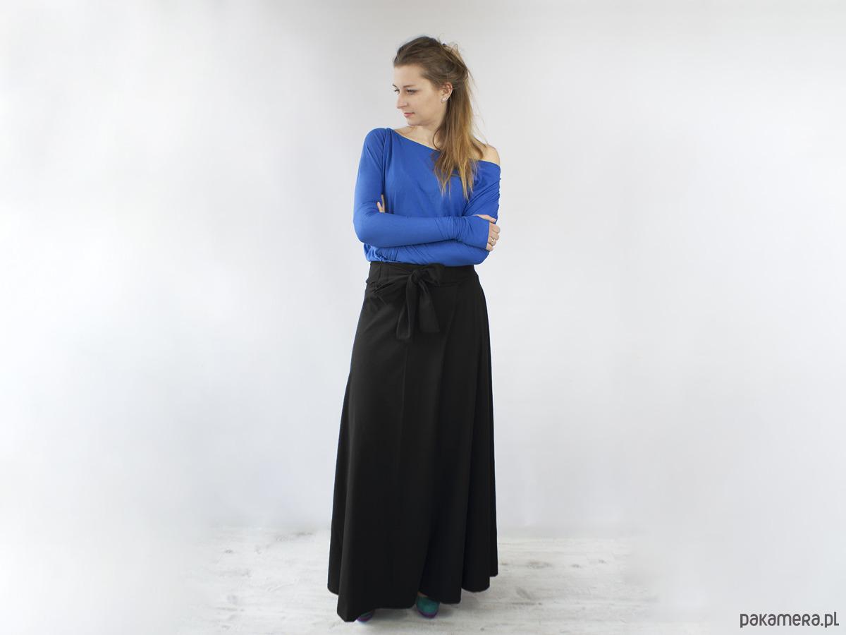 Spódnica MAXI długa z kola z kokarda czarna