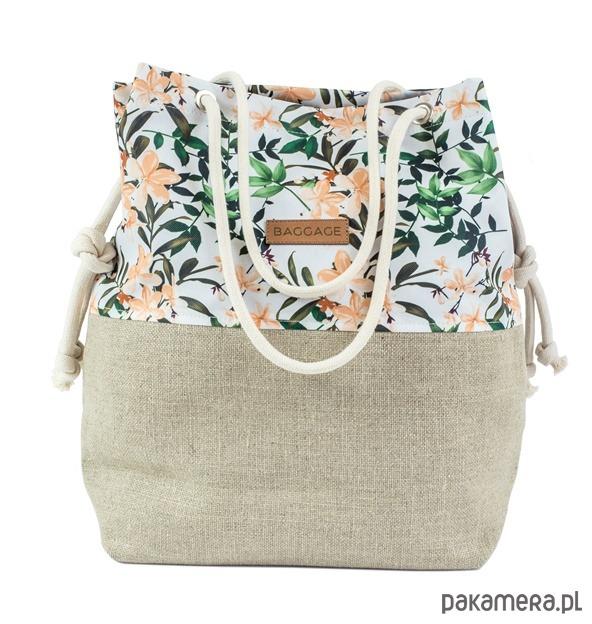 b47591a531c84 torby na ramię - damskie-Torebka worek BAGGAGE kwiaty shopper torba