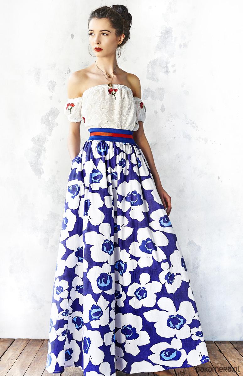 Spódnica maxi w błękitne kwiaty spódnice maxi Pakamera.pl