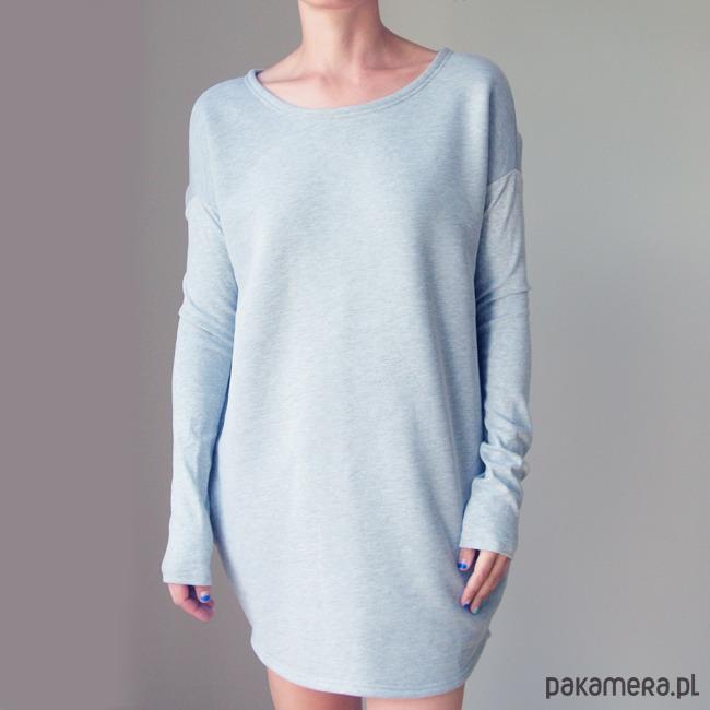Szara Sukienka Dresowa Midi Wąski rękaw