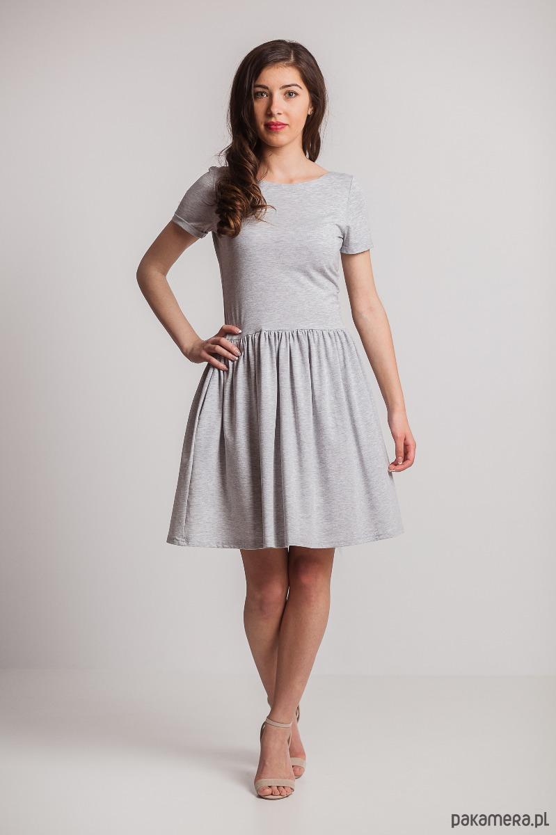 Sukienka cięta w pasie marszczona-szara