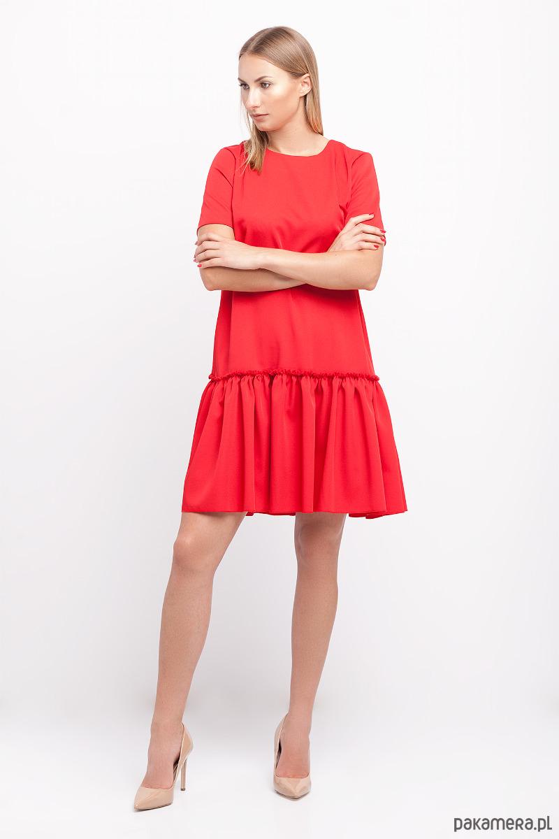 70b5cbb92e Sukienka z falbaną czerwona - sukienki - mini - Pakamera.pl