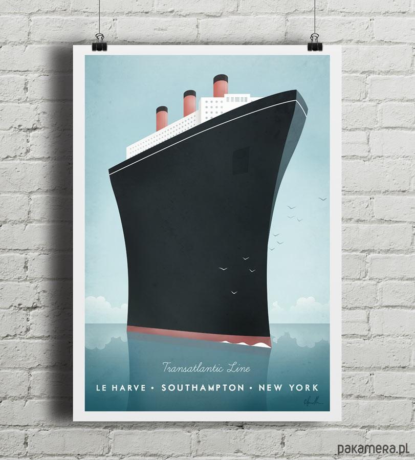 plakaty transatlantyk vintage plakat 50x70 cm