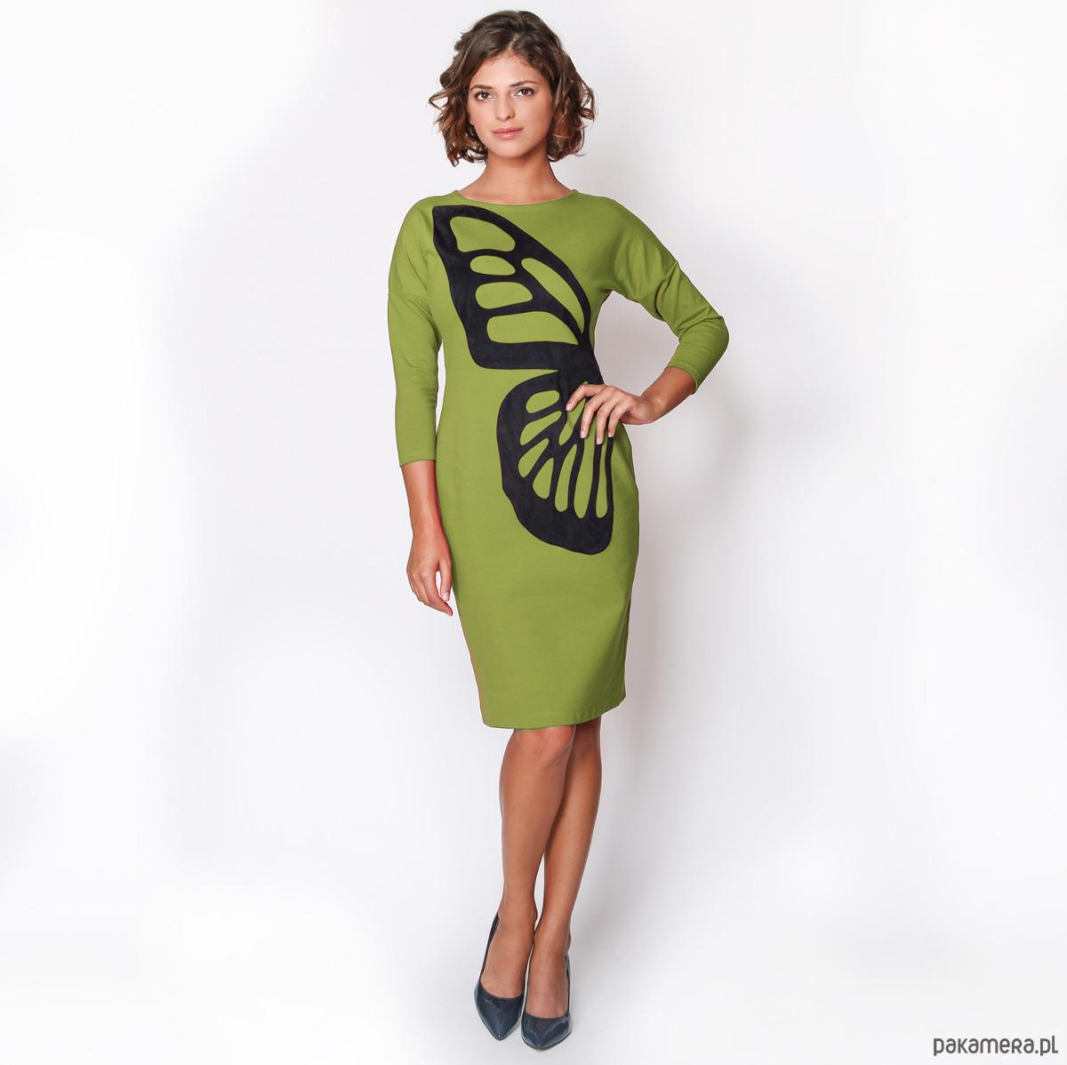 Sukienka ze skrzydłem motyla zielona