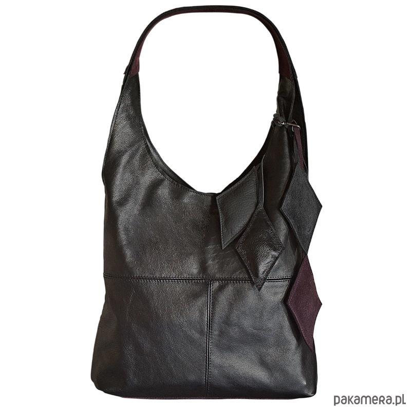 12a4e005bffd4 torby na ramię - damskie-Czarna miękka skórzana damska torba typu worek