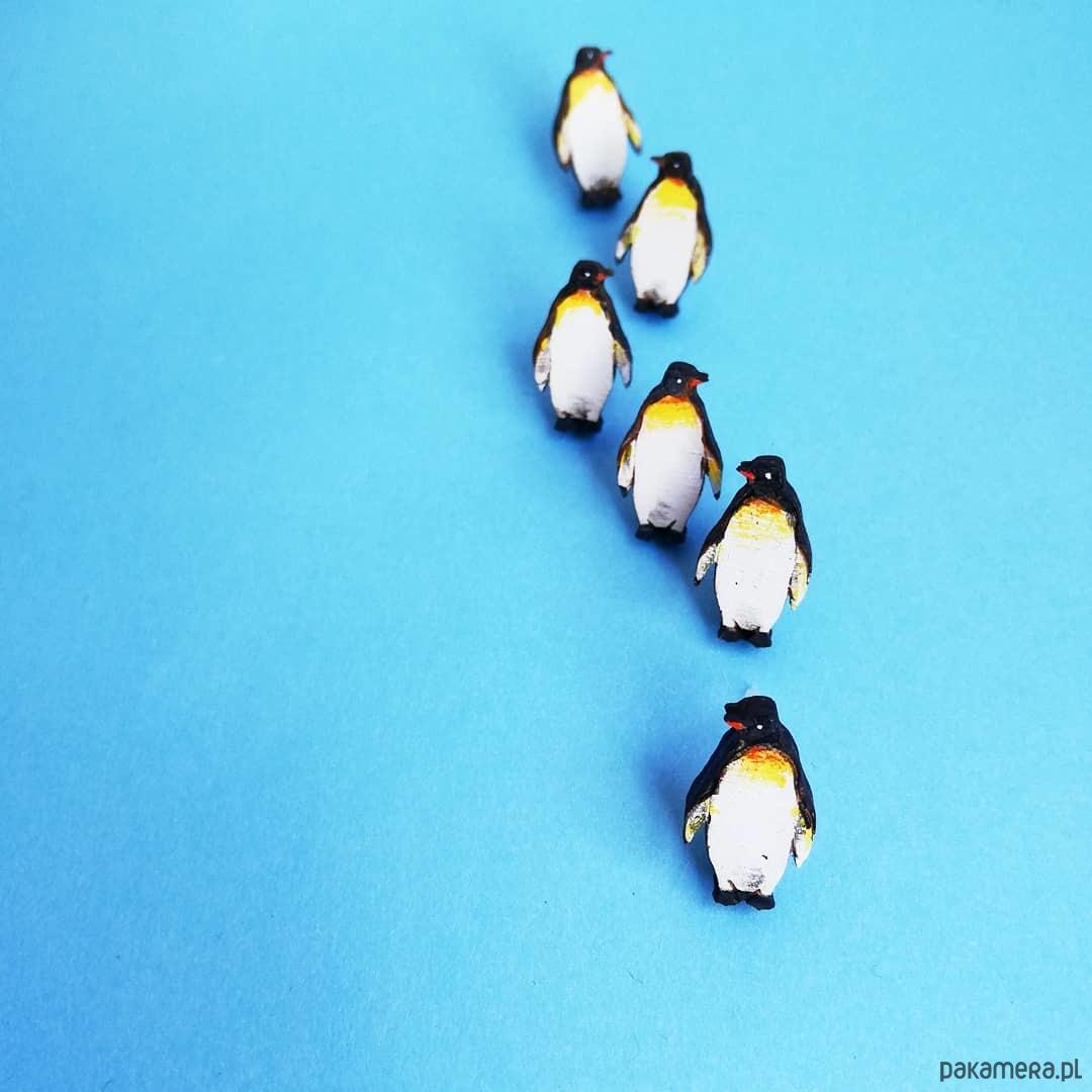 Pingwiny malowane - kolczyki - drewno
