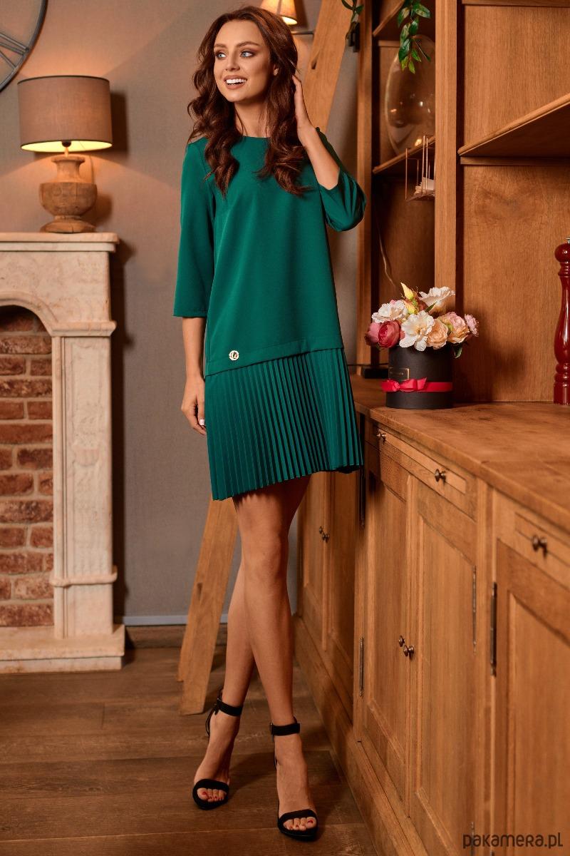 1d54fe363b Prosta sukienka z plisowaniami L266 -zielony - sukienki - różne ...