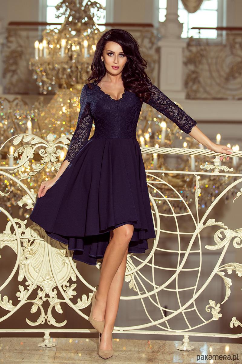 19efe26a07 210-2 NICOLLE sukienka z dłuższym tyłem granat - sukienki - midi ...