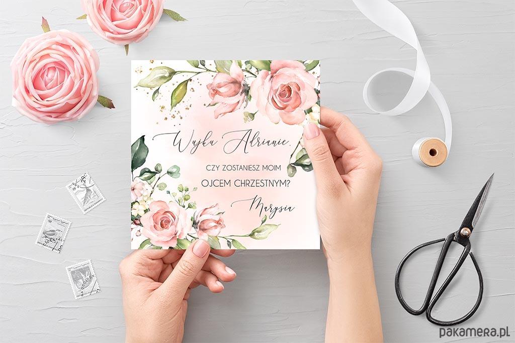 Podziękowanie Chrzest Urodziny Herbaciane Róże Chrzest Kartki