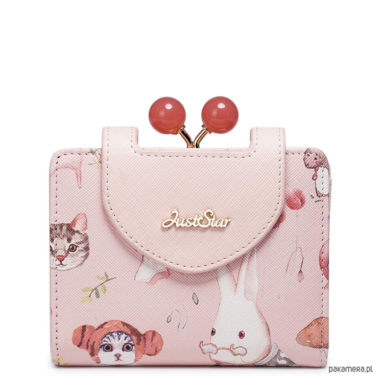 64f9795bd00cb Krótki dziewczęcy portfel z wzorem Różowy - portfele - damskie ...