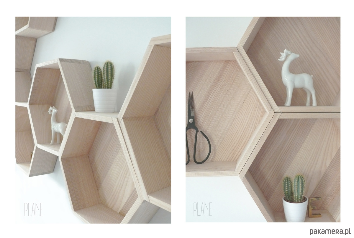Drewaniane Półki Hexagon Pakamerapl