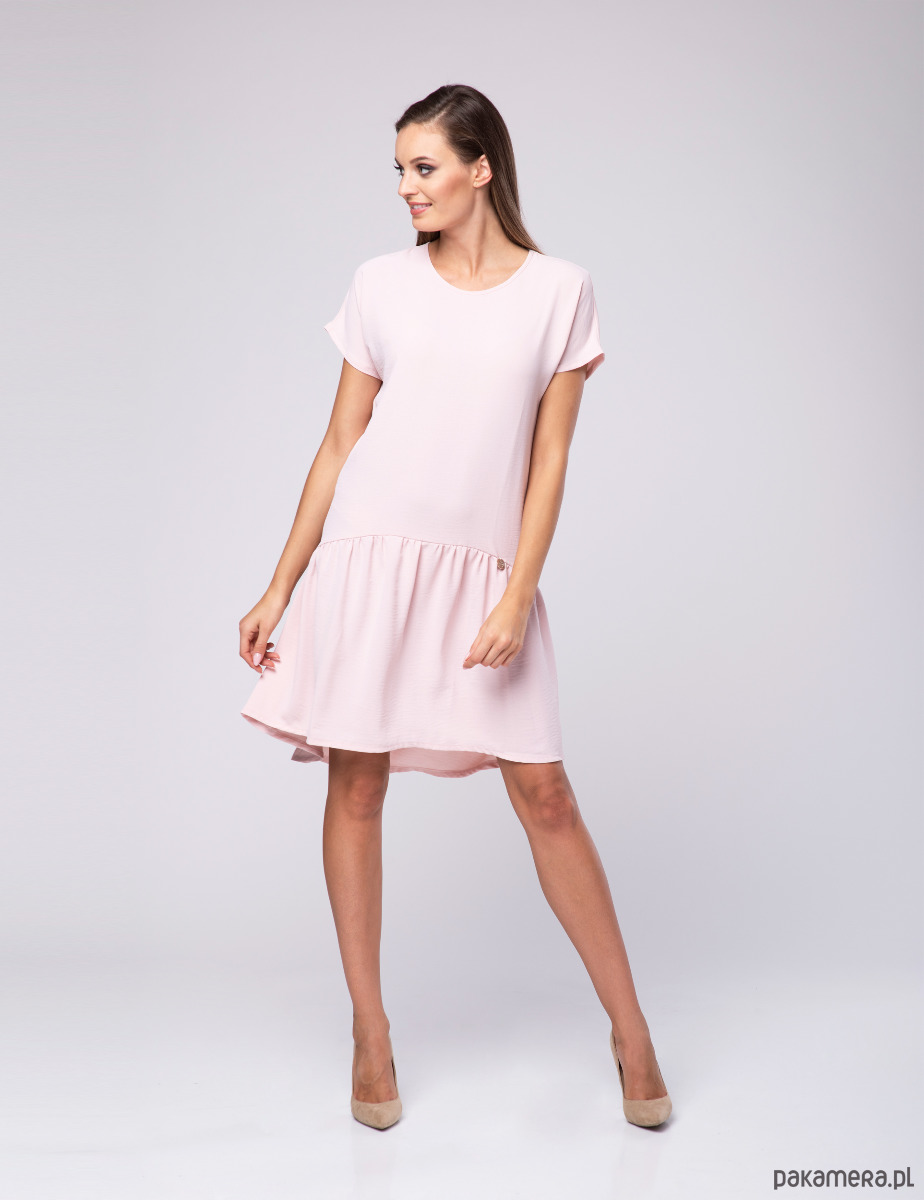 dcd1cb9858 Sukienka damska Powder LOOK 607 pudrowy róż - sukienki - midi ...