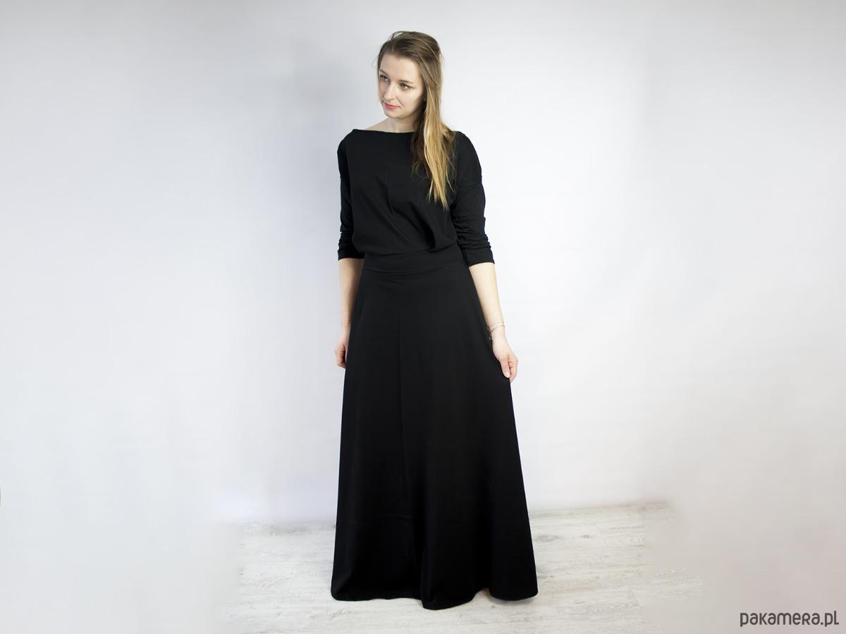 Sukienka ESER dzianinowa długa czarna