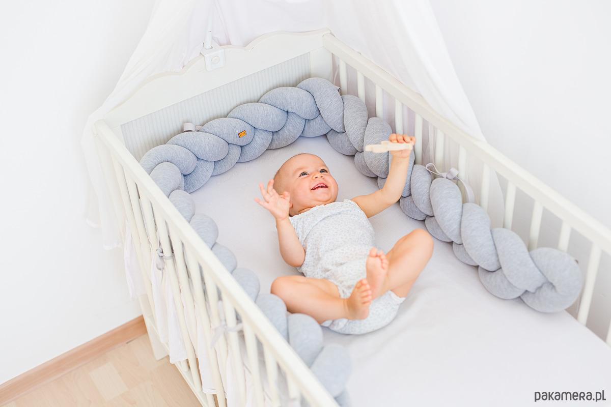 Modernistyczne Wianek do łóżeczka 220cm jasny szary melanż - pokój dziecka UB69