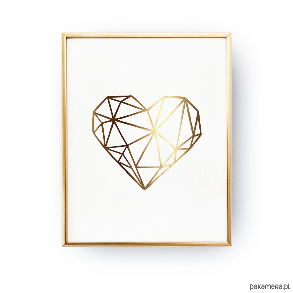 Plakat Geometryczne Serce Złoty Druk Pakamerapl