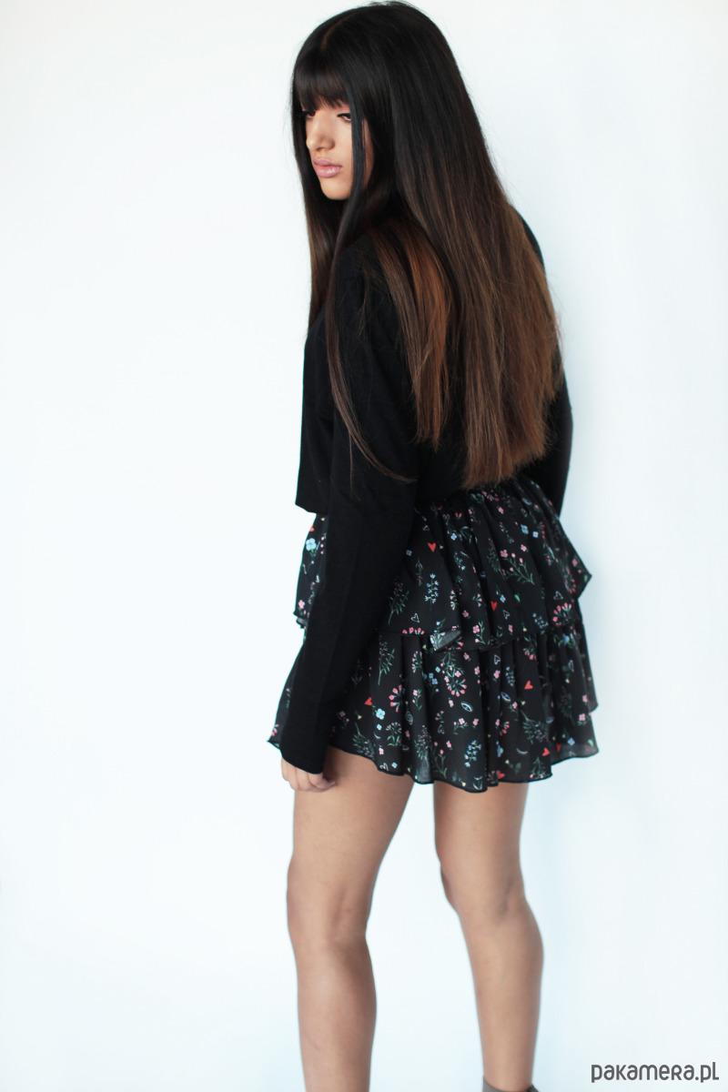 Spódnica asymetryczna z falbankami Heidi