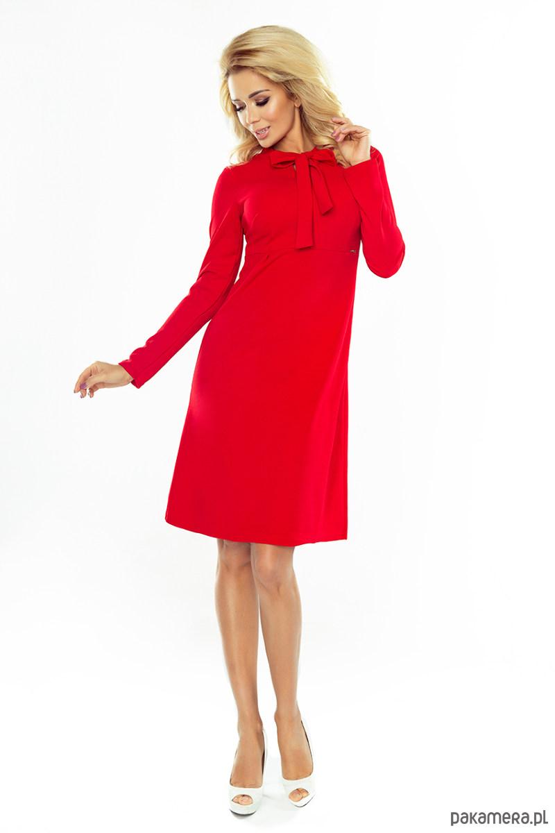 Sukienka PAOLA trapezowa wiązana czerwona