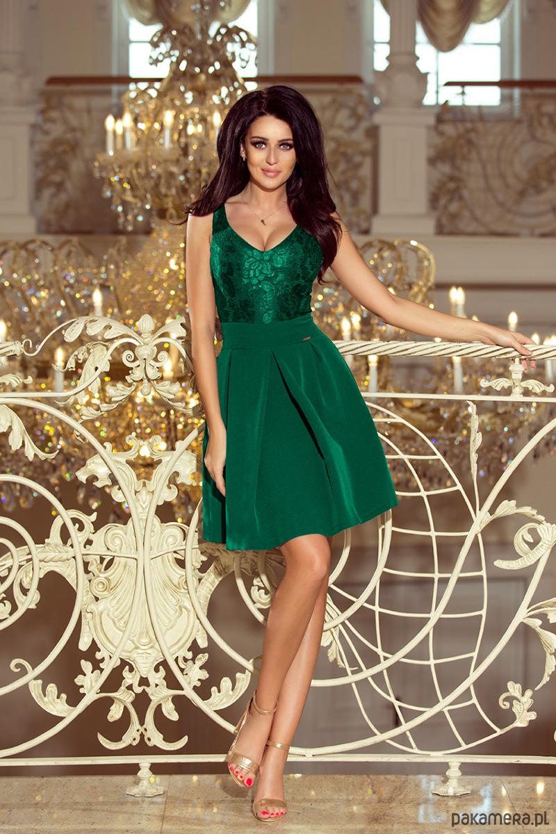 66431ab8ec9823 Moda - sukienki - mini-208-4 Sukienka z koronkowym dekoltem - zielona ...