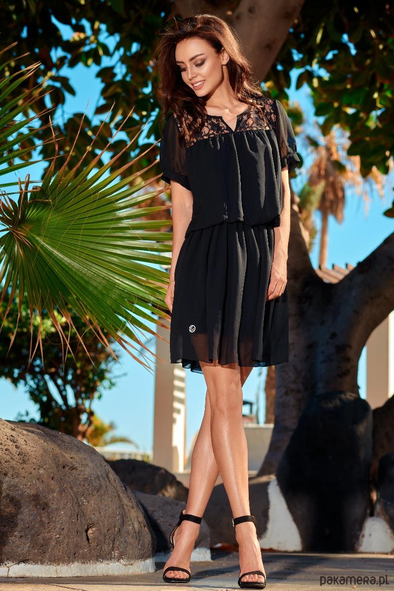 Szyfonowa sukienka z krótkim rękawem L241 czarny