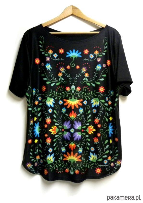 Bluzka damska,t-shirt ze wzorem folk S-XL