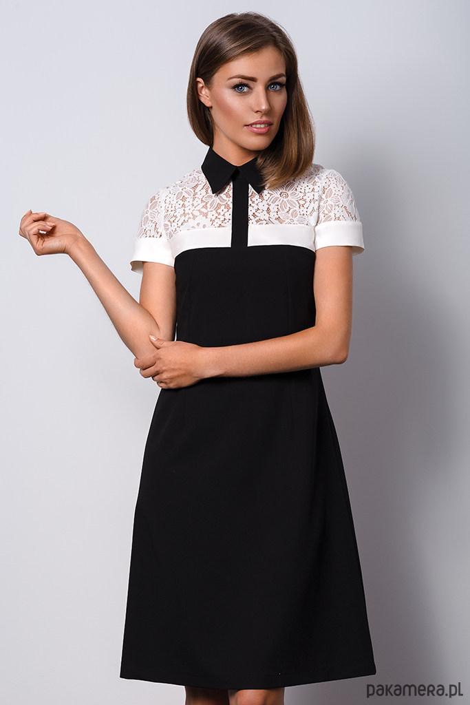 5f08d174c8 Elegancka czarna sukienka z kołnierzykiem - sukienki - midi ...