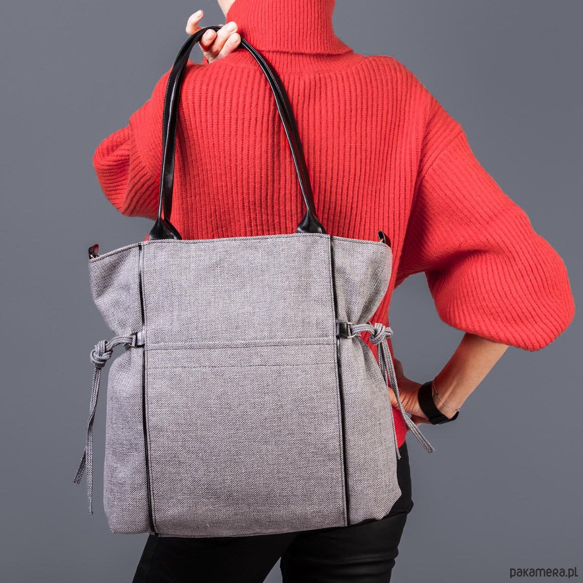 589f3d7558feb AMBER - duża torba - shopper - szara plecionka - torby na ramię - damskie -  Pakamera.pl