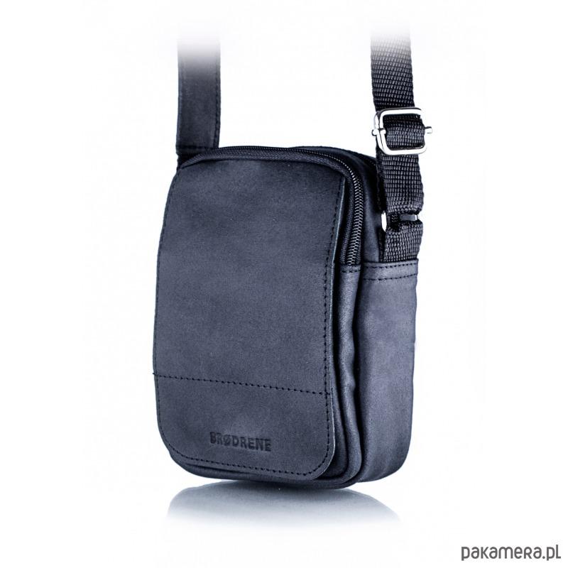 e58dcce33d6c91 akcesoria - torby i nerki - męskie-Czarna listonoszka torba na ramię