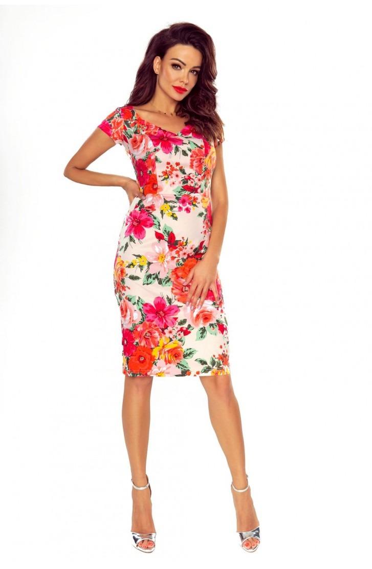 Elegancka sukienka dzienna (kwiaty na różu)