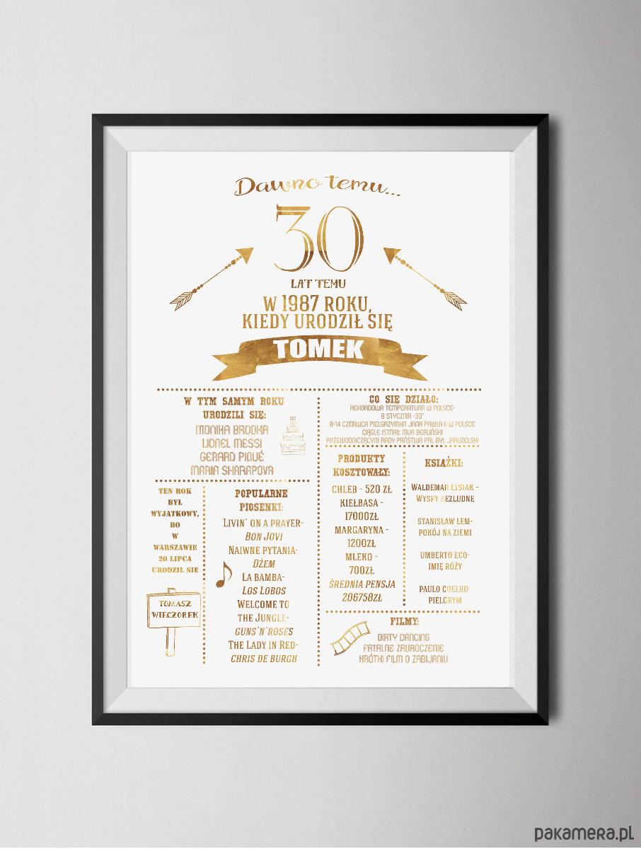 Personalizowany Złoty Plakat Z Okazji Urodzin Pakamerapl