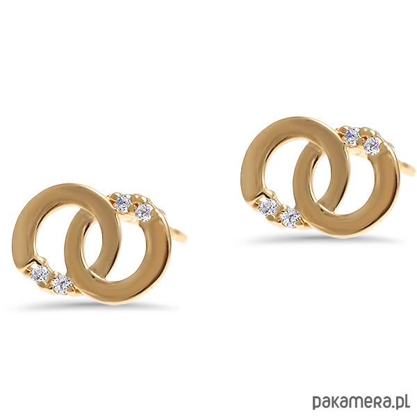 702c3f707ea90a Biżuteria - kolczyki - złote-Złote kolczyki dwa koła z cyrkoniami próba 333