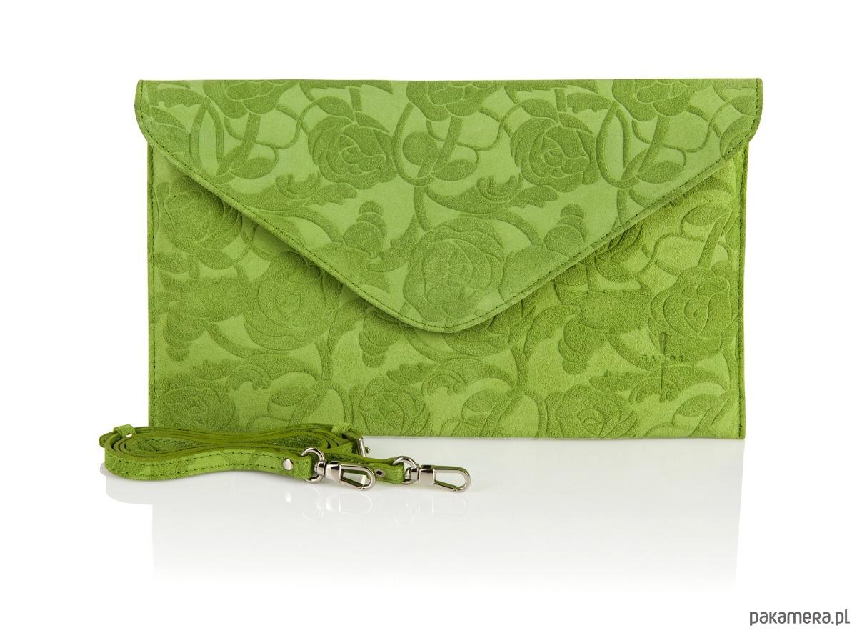 b6eea57cdcee6 Welurowa zielona kopertówka Rosa wzór kwiaty - kopertówki - Pakamera.pl