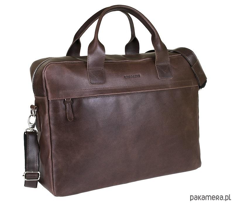 b024ce37b2af5 akcesoria - torby i nerki - męskie-Skórzana torba na laptop na ramię  Brodrene BL03