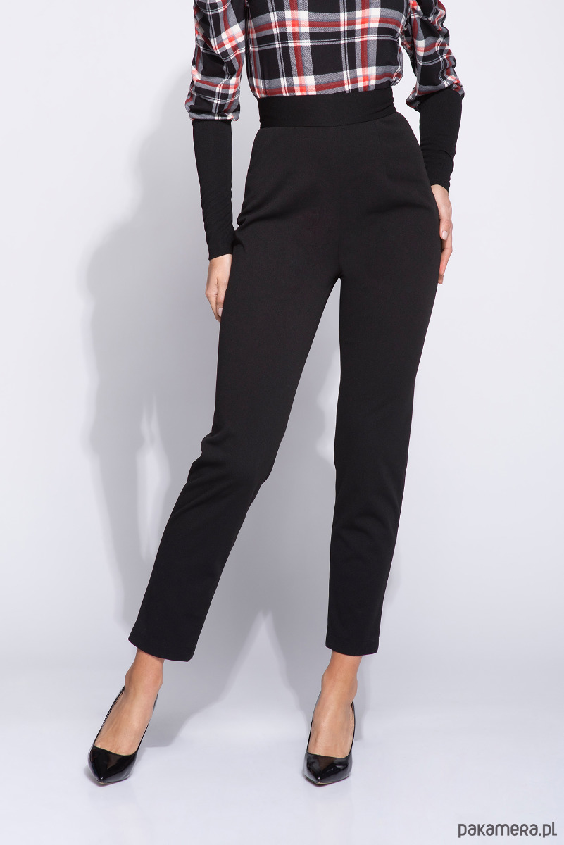 Eleganckie czarne spodnie damskie na wysoki stan