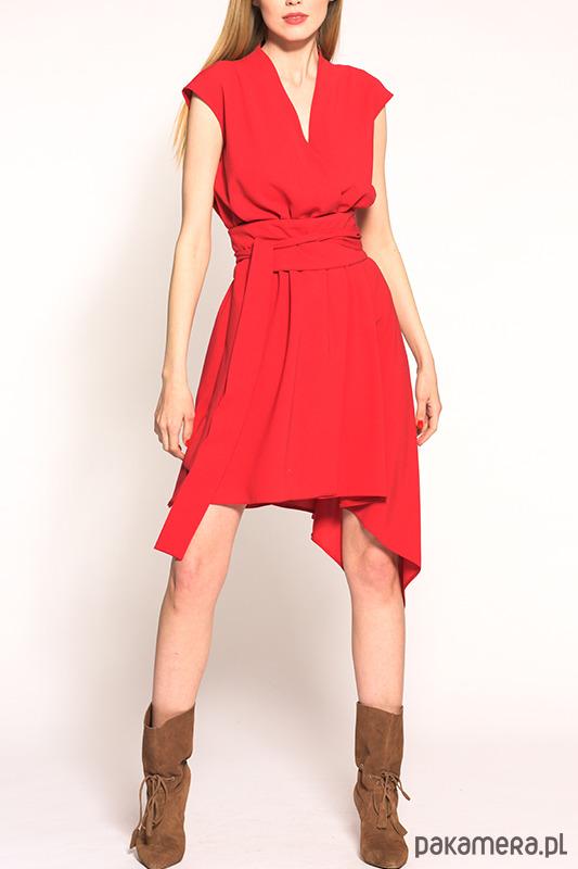 Sukienka CARO asymetryczna czerwona