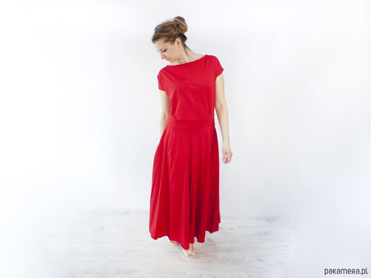 Sukienka UMUT dzianinowa długa czerwona