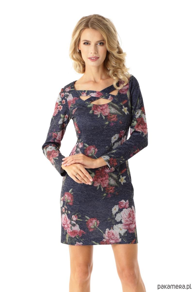 Dopasowana sukienka z paskami Emily kwiaty