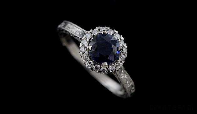 Bardzo dobra Pierścionek zaręczynowy z szafirem i diamentami - pierścionki NI87