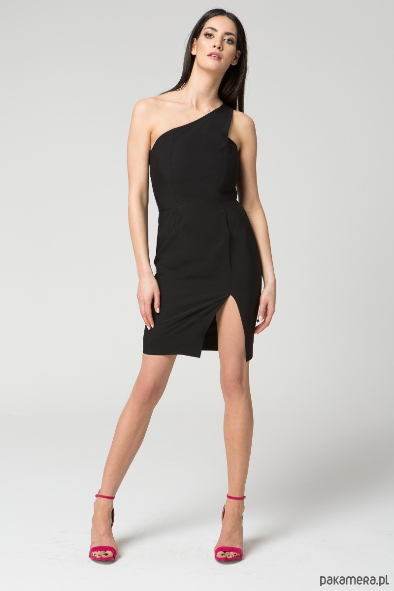 Sukienka na jedno ramię M035 Czarna