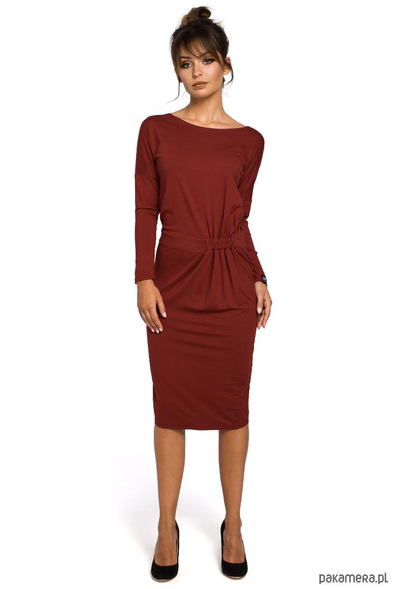 Piękna Sukienka midi z gumką na boku