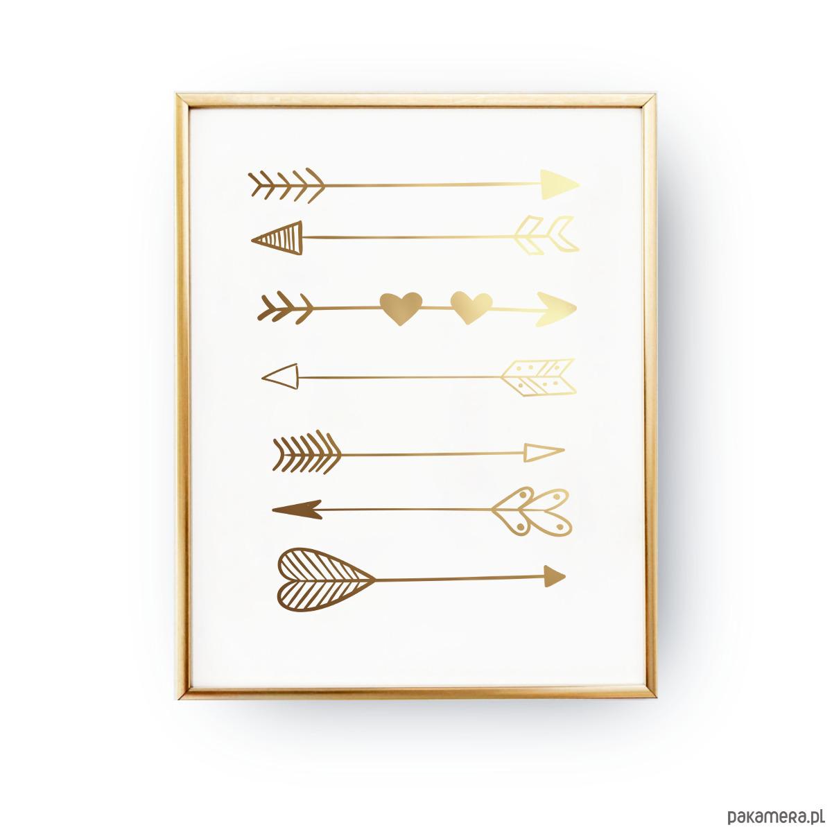 Plakat Strzałki Złoty Druk Pakamerapl